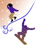 Two snowboarders in action. Stylish illustration stock illustration