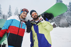 Two snowboarders Royalty Free Stock Photos