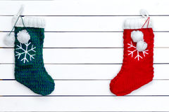 Two snowflake patterned Christmas stockings Royalty Free Stock Image