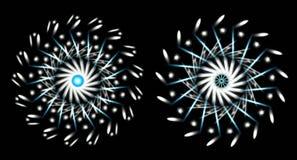 Two snowflakes on black background stock photo