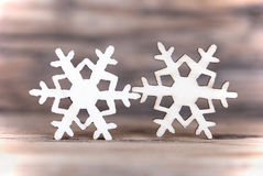 Two Snowflakes on Wood I Stock Images