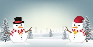 Two snowman in forest snow winter background. A two snowman in forest snow winter background Royalty Free Stock Image
