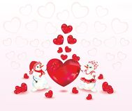 Two snowman and hearts Stock Image