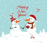 Two snowman in love and heart Stock Images