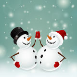 Two snowman Royalty Free Stock Image