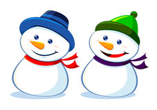 Two Snowman Smilling Royalty Free Stock Photos