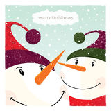 Two Snowman_card Royalty Free Stock Photography