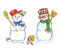 Two snowmans Stock Photo