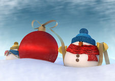 Two snowmans Royalty Free Stock Photography