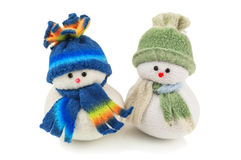 Two snowmans isolated Stock Photos