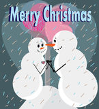 Two snowmans in love Royalty Free Stock Images