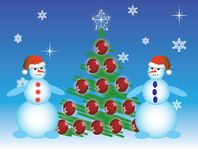Two snowmen a  Royalty Free Stock Image