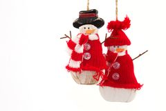 Two snowmen 2. Two decoration snowmen with a white background Royalty Free Stock Photography