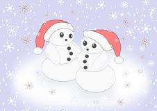 Two Snowmen Royalty Free Stock Images