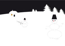 Two snowmen. Snow men meet in new-year night. Blackly - white image Royalty Free Stock Photos