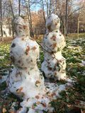 Two snowmen in autumn. Two snowmen are made of snow and leaves Stock Image