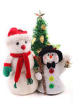 Two snowmen & Christmas Tree. Two snowmen and christmas tree over white background Royalty Free Stock Image