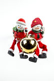 Two Snowmen and an Ornament Royalty Free Stock Photo