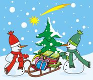 Two snowmen with scarf. Two snowmen and sleigh with gifts - Christmas cards Stock Photos