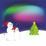 Two snowmen Stock Images