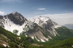 Two snowy peaks in Alps Stock Photography