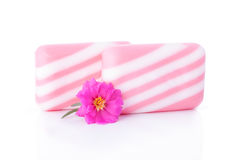 Two Soap Bar and Flower Royalty Free Stock Photography