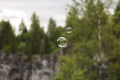 Two Soap Bubbles Royalty Free Stock Photo