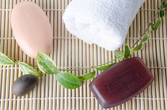 Two soaps and a towel Royalty Free Stock Photography