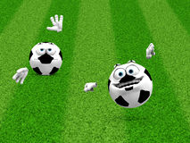 Two soccer ball smilies Royalty Free Stock Image