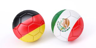 Two soccer balls in flags colours. Germany and Mexico. 3d image Stock Photography