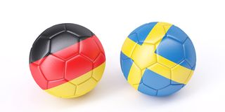 Two soccer balls in flags colours. Germany and Sweden. 3d image Stock Photography