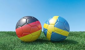 Two soccer balls in flags colours royalty free illustration