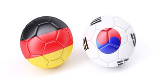 Two soccer balls in flags colours. Germany and South Korea. 3d image Royalty Free Stock Images