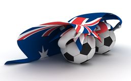 Two soccer balls hold Australia flag Royalty Free Stock Photos