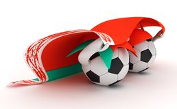 Two soccer balls hold Belarus flag Stock Photos