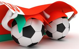 Two soccer balls hold Belarus flag Royalty Free Stock Images