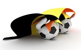 Two soccer balls hold Belgium flag Stock Image