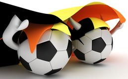 Two Soccer Balls Hold Belgium Flag Royalty Free Stock Images