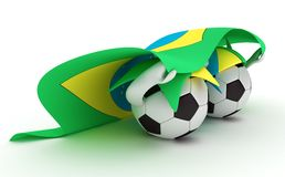 Two soccer balls hold Brazil flag Royalty Free Stock Photos