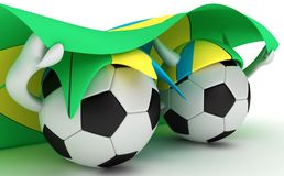 Two soccer balls hold Brazil flag Stock Images