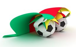 Two soccer balls hold Cameroon flag Stock Photo