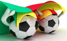 Two Soccer Balls Hold Cameroon Flag Royalty Free Stock Photos