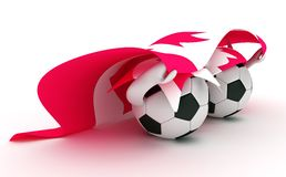 Two soccer balls hold Canada flag. 3D cartoon Soccer Ball characters with a Canada flag Stock Images