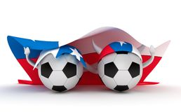 Two Soccer Balls Hold Chile Flag Royalty Free Stock Images