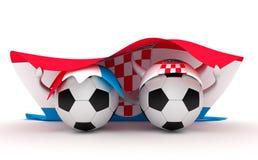 Two soccer balls hold Croatia flag Royalty Free Stock Photos