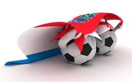 Two soccer balls hold Croatia flag Stock Photo