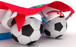 Two soccer balls hold Croatia flag Royalty Free Stock Images