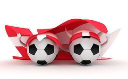 Two Soccer Balls Hold Denmark Flag Stock Image