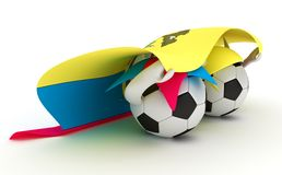 Two soccer balls hold Ecuador flag Royalty Free Stock Images