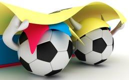 Two soccer balls hold Ecuador flag Stock Image